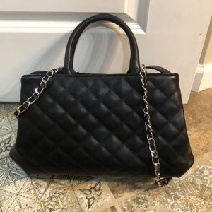 Black quilted faux leather purse